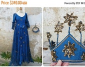 ON SALE Vintage Antique 1900/1910  French theater Cabaret Costume from PARIS Blue net corset dress + crown diadema  golden stars embroiderys