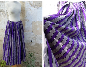 Vintage French Victorian worker peasant multicolor striped petticoat /skirt / 1890/1900 thick  fabric