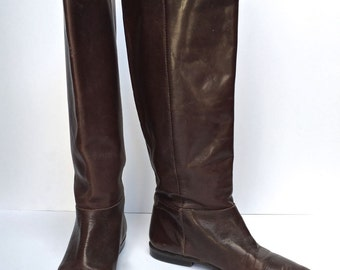 Classic vintage 80s Brown Leather Knee High boots SIZE 7 US
