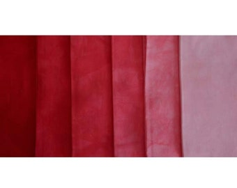 muted RED Shades - hand dyed Fabric - 6 pc Fat Quarter Gradation Bundle - Tuscan Rose MR541