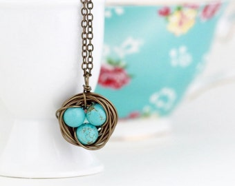 Birds Nest Pendant - Meaningful Gift - For Mom - Rustic Pendant - Bird Nest Necklace - Turquoise Nest Pendant  - Woodland Necklace