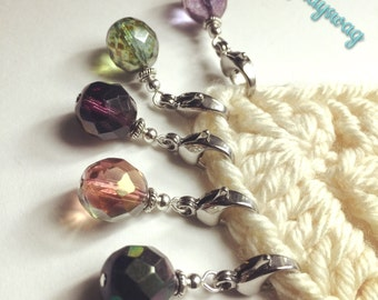5 Stitch Markers  - Winery Road 12mm Beads