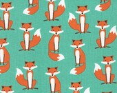 Fabulous Foxes by Andie Hanna, Small Foxes on Aqua green, yard