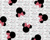 Black  and White Minnie Mouse News print Fabric, 1/2 Yard