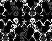 New GLOW IN the DARK Fabric from Henry Glass, Frightful and Delightful, Dancing Skeletons on Black,  yard