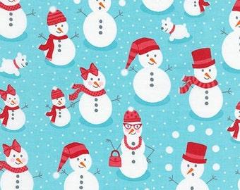 NEW Andie Hanna's Polar Pals, Snowmen on Aqua Fabric, yard