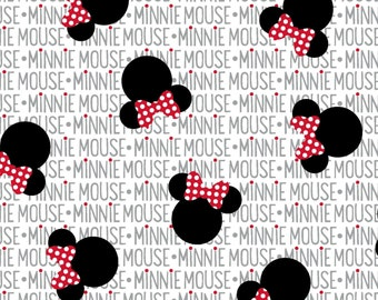Black  and White Minnie Mouse News print Fabric, LAST 10 Inches