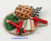 RESERVED for MINTERIORS 12th Scale Miniature Making Rhubarb Pie ** RESERVED **