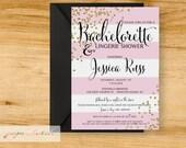 Bachelorette - Lingerie Shower - Glitter & Pink - Digital File or Printed