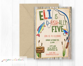 Fish Birthday Invitations - Rustic Fishing Party - Fisherman and Boat Birthday - O Fish Ally - Boy Birthday Invite - Fishing Rod - Red Blue