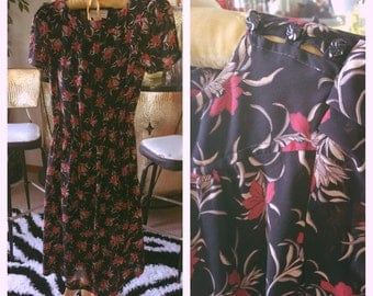 Vintage 1940s style Dress back red floral S M swing rockabilly 40s 1930s