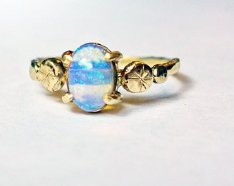 Recycled 14k Gold and Ethiopian Opal Handmade Pebble Ring