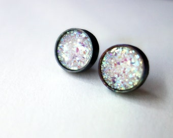 White and Black Druzy Studs in Oxidized Sterling Silver