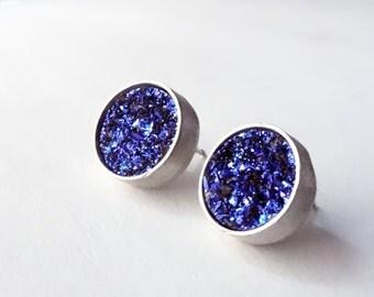 Indigo Blue Druzy Studs