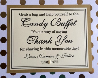 Custom Personalized 8x10 Flat Wedding Candy Buffet or Cookie Buffet Signs - Any Colors and Wording Possible - Love is Sweet, Take a Treat