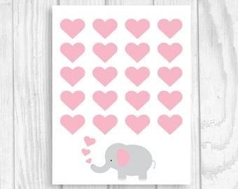 printable 8x10 elephant girlu0027s baby shower guest book sign with pink hearts instant download