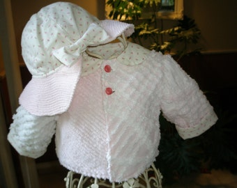 Toddler Jacket & Hat Vintage Chenille Pink, White Patchwork