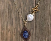Repurposed vintage blue glass cameo and fresh water pearl connector one of a kind gold necklace