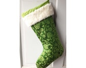 Green Rose Brocade Christmas Stocking with Cream Faux Fur Cuff and Gold Floral Lining - Heirloom Holiday Decor