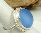 Sea Glass Jewelry Cornflower Blue Sea Glass Ring Blue Sea Glass Ring Cornflower Blue Beach Glass Sea Glass Jewelry  Size 8  - R-094