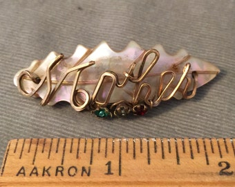 1940s, 1950s Gold Filled Wire, Mother of Pearl MOTHER Brooch, Pin, the Perfect Mother's Day Gift, 3 Colored Rhinestones