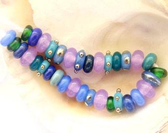 34 Handmade Lampwork Spacer Beads