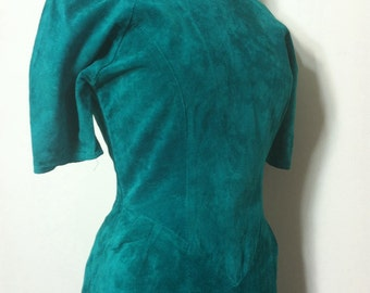 Vintage green leather dress - backless 80s 90s - size small