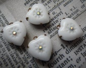 Alabaster White Vintage Glass Hearts with Rhinestone Centers Opaque 12mm Faceted Glass Heart Drops 4 Pcs