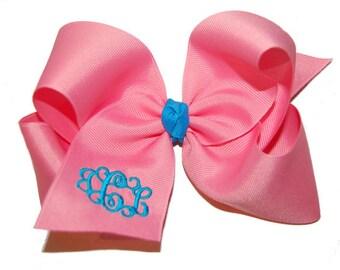 Extra Large Monogrammed Bow - Jumbo Sized Monogram Bow - Monogram Headband Bow - Personalized Bow - Custom Embroidered Bow