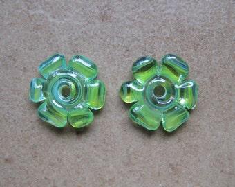 Lampwork Beads - SueBeads - Disc Beads - Parrot Cut Disc Flower Bead Pair - Handmade Lampwork Beads - SRA M67
