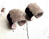 Charcoal Silk Velvet and Antique Steel Beaded Adjustable Cuff