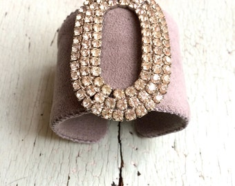 Grey Ultrasuede Adjustable Cuff with Vintage Rhinestones