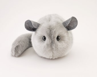 Stuffed Chinchilla Stuffed Animal Cute Plush Toy Chinchilla Kawaii Plushie Comet the Silver Grey Chinchilla Faux Fur Large 6x10 Inches