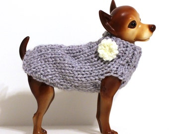 Light Grey Dog Sweater with Flower
