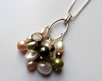 Freshwater Jumble Neckace with Sterling Silver Box Chain (Pick Your Own Length)
