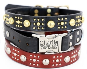 Personalized Leather Dog Collar -- The Lili