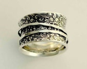 Silver Wedding Band, sterling silver band, spinners ring, silver filigree ring, wide silver band, stacking rings - A way of life 2, R1209AS