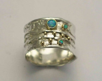 Sterling silver band, gemstones band, silver yellow gold ring, blue opals band, two tones ring, organic ring, mothers ring -  Dreamy. R1077X