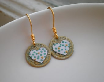 Sweetheart Dangle Earrings By So Very Charming, Hand Painted Hearts, Tiny Heart Retro Chic Polka Dot Art Dangles, Aqua Green & Gold Dots