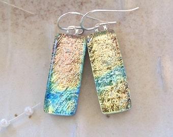 Dichroic Glass Earrings, Dangle, Sterling Silver, Yellow, Aqua, A12