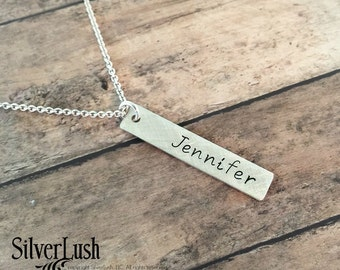 Custom jewelry - Personalized Necklace - Sterling Silver Hand Stamped Tag necklace