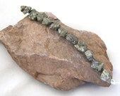 Medium Iron Pyrite Randomly Faceted Nugget Beads  -  6 to 8 mm  set of 11 pieces