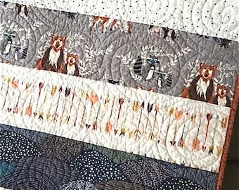 Modern Baby Boy Toddler Woodland Quilt Hello Bear Reversible Quilt Fox Bear Raccoon Owl Arrows Deer Buck Forest Crib Nursery Quilt Gray Navy