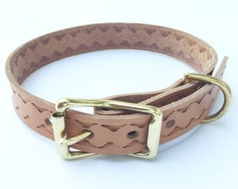 Mountain River Hand Stamped Leather Dog Collar