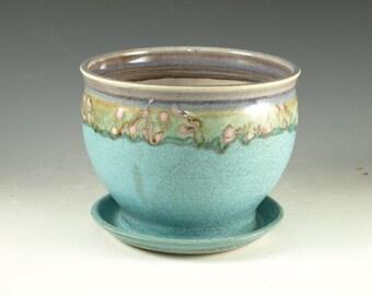 Pottery planter in turquoise glaze, flower, herb planter stoneware