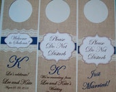 Hotel Door Hangers - RUSTIC BURLAP and LACE - Double Sided for Out of Town Wedding Guests - Do Not Disturb (6)