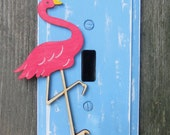 Kids Switch Plate Cover FLAMINGO - Hand Painted Wood