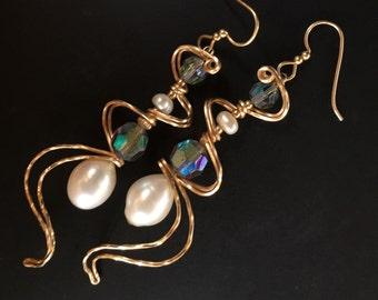 Art Nouveau Pearl Earrings, Vintage Crystal Earrings, Gold Pearl Earrings, Starlight Earrings,