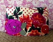 Floral clutch with pink applique flower