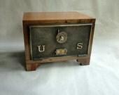 Wooden Post Office Door Safe Eagle Dial & Pointer Combination Wood with Feet Brass Bronze PO Keepsake Box Bank Wedding Card Box GunCabinet